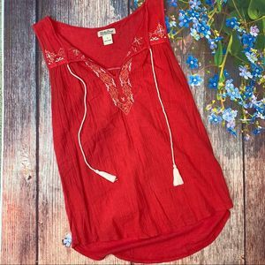 Lucky Brand Red Cotton Embroidered Boho Tank Small